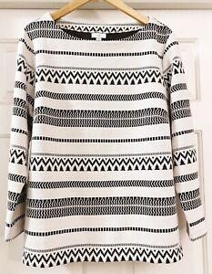 J.Jill Women's Black Cream Cotton Blend Sweater Top Textured Stripes 2X Plus
