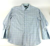 Ted Baker London Archive Blue White Herringbone Dress Shirt Men Size 17 32/33