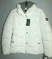 TOMMY HILFIGER WINTER PUFFER JACKET COAT XL WOMEN WHITE W/ DETACHABLE HOOD