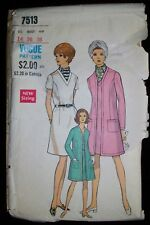 VOGUE Special Design Vintage 60s Pattern 7513 Dress & Coat Size 14 Cut