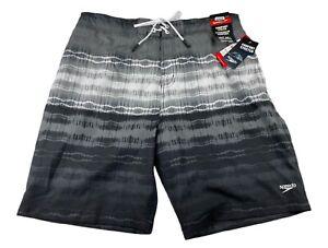 NEW Speedo Mens Boardshort Swim Trunks Size XL Comfort Stretch Black/Gray
