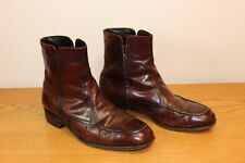"Sz 10 Leather Ankle Boots Florsheim Side Zip 1"" Heel Leather Sole Burgundy"