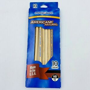 Papermate American Natural Pencils 10-Count Box HB #2 Sanford USA made 13528 OF
