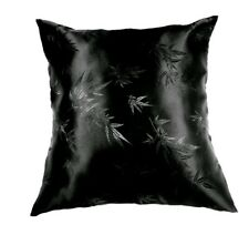 Pack of 2 Silk Throw Pillow cover Soft Satin Pillowcase Floral Shiny Black