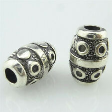 14942 10pcs Vintage Silver Alloy Wine Barrel 14mm Tube Spacer Beads Charms