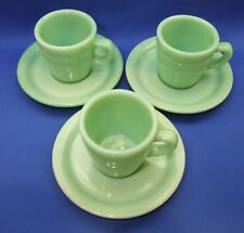 Rare Anchor Hocking Fire King Jadeite straight cups G215 and saucers set of 3