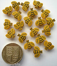 TINY BEES Craft Buttons 1ST CLASS POST Garden Insect Flower Small Novelty Food