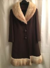 Fabulous BLOND CROSS MINK Princess COLLAR & BOTTOM Fur WOOL Jacket COAT XS S M