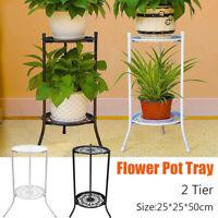 2 Tier  Metal  Shelf  Stand Plant Flower Display Shelving Rack Indoor Decor