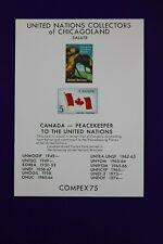 Compex 1975 Un Chicago-land Philatelic reprint 439 Canada flag Souvenir card