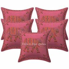 Indian Cotton Elephant Pink 16 Inch Gold Thread Embroidered Throw Pillow Covers