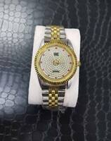 ds Orologio Polso Yk Uomo Donna Analogico Quarzo Silver Oro Diamonds lac