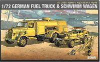 Academy 13401 Military 1/72 Plastic Model Kit German Fuel Truck & Schwimm Wagen