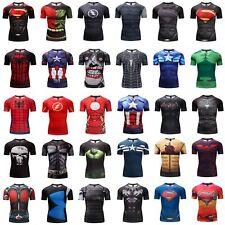 Mens 3D Printed Gym Superman Superhero T-shirt Fitness Sports Workout Armour Top