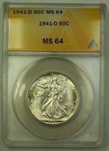 1941-D US Walking Liberty Silver Half Dollar 50c Coin ANACS MS-64