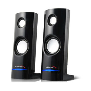PC Computer Stereo Speakers USB Compact Size 8W Laptop Clear Sound Volume Knob