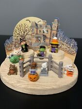 Hallmark Merry Miniatures Halloween Lot + Display Background