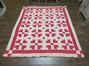 """Antique Handmade Cotton Patchwork Quilt Shoo Fly Pattern 68"""" x 76"""""""