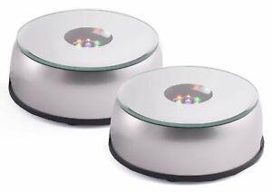 """HONGVILLE 3 LED Colorful Light Laser 3"""" Display Base Stand Set of 2"""