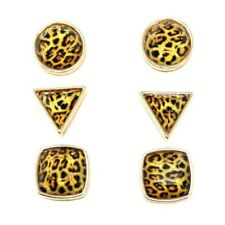 3 PACK GEOMETRIC SHAPES STUD EARRING SET GOLD LEOPARD CHEETAH PRINT RETRO METAL
