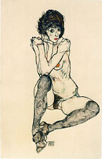 Egon Schiele Reproductions: Seated Nude with Black Stockings - Fine Art Print