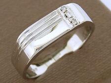 MR53 Genuine 9ct White Gold MENS Natural Diamond SIGNET Ring size T  Three-stone