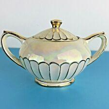 Vintage Sadler lidded handled sugar bowl Cream Gold Lustre Made In England