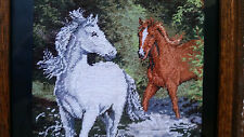 """""""Horses In The River"""" Hand Made Needlepoint Hand Crafted Tapestry Gobelin Rare"""