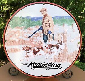 "VINTAGE ""THE REMINGTON"" RIFLES AMMUNITION GUNS GAME LOAD AMMO PORCELAIN SIGN"