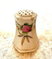"Antique Porcelain Hand Painted Salt Shaker Pink Roses Gold Accents 3"" Japan"