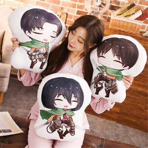 Attack on Titan Levi Ackerman Eren Jaeger Plush Pillow Stuffed Doll Toy Cushion