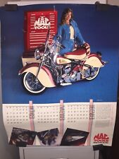 MAC Tools 1991 Indian Summer Poster Calendar Maroon and Cream Motorcycles w/Girl
