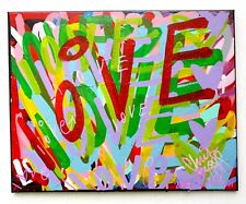 "CHRIS RIGGS LOVE ORIGINAL STREET POP MODERN CONTEMPORARY FINE ART NYC UK 20""X16"""