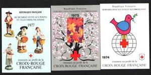 3 FRENCH COMPLETE RED CROSS BOOKLETS.1974,75,77
