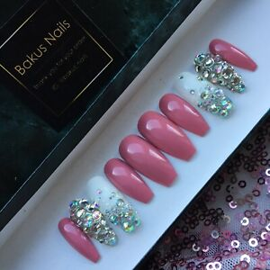 Hand Painted False Nails Rose Pink Diamonds Glitter Long Coffin Shape Press On