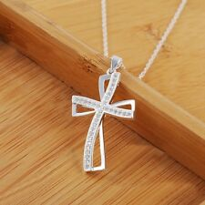 925 Sterling Silver Plated Retro Rhinestone Crystal Cross Pendant Necklace Chain