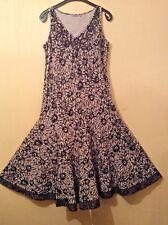 NEW(other) PER UNA Floral patterned Biscuit/Black/Brown FIT &FLARE Dress.Sz:16L.