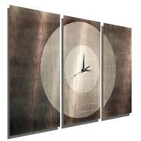Statements2000 Large Modern Metal Wall Art Clock Panels Grey Decor Jon Allen
