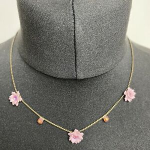 Beautiful Floating Flower Necklace Pink Bronze Tone Sparkly Diamanté Layering