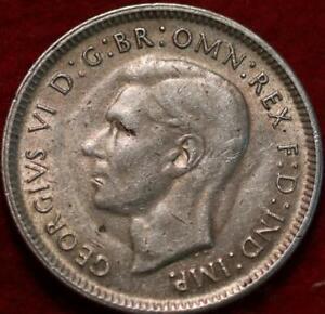 1943 Australia 1 Shilling Silver Foreign Coin