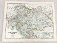 1896 Antik Landkarte der Austro Hungarian Monarchy Reich 19th Century Johnston