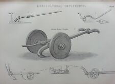 ANTIQUE PRINT DATED C1870'S AGRICULTURAL IMPLEMENTS ENGRAVING FARMING MACHINERY