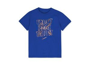 """NIKE Boy's """"FRONT PAGE TALENT"""" Cotton Graphic T-Shirt ** ROYAL/MULTI - 7 ** NWT"""