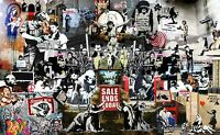 "BANKSY STREET ART CANVAS PRINT Collage montage  24"" X 16"" stencil poster"