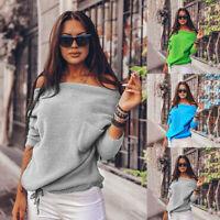 Women's Off-the-Shoulder Warm Winter Loose Sweater Pocket Pullover Jumper Tops