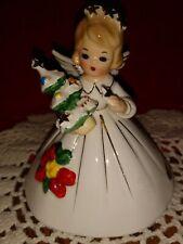 Josef Originals Christmas Angel W/Christmas Tree & Poinsettia On Dress Label Box