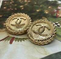 Stamped Chanel buttons 2 pcs  cc logo 22 mm 0,8 inch metal gold