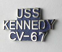 USS JOHN F KENNEDY AIRCRAFT CARRIER US NAVY USN SCRIPT LAPEL PIN BADGE 1 INCH