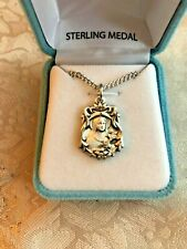 "ST. THERESE MEDAL, SOLID STERLING SILVER 18"" Chain. Velvet Case #S357418X  NEW"