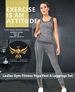 Ladies Gym Wear Womens Fitness Workout Sports Clothes Yoga Vest & Leggings Set